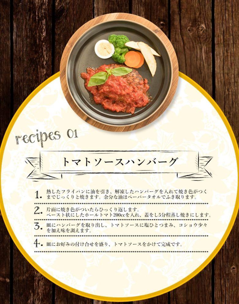 トマトソースハンバーグのレシピ