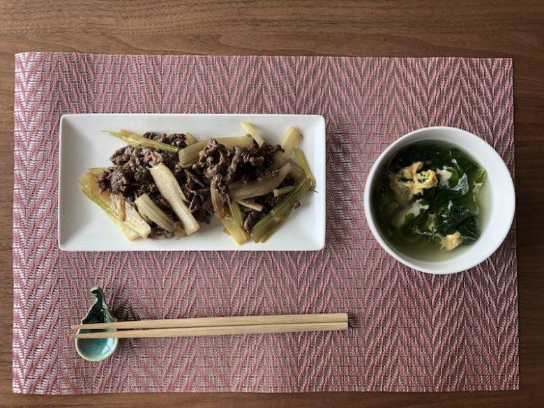 牛肉とセロリの中華風ごま油炒め